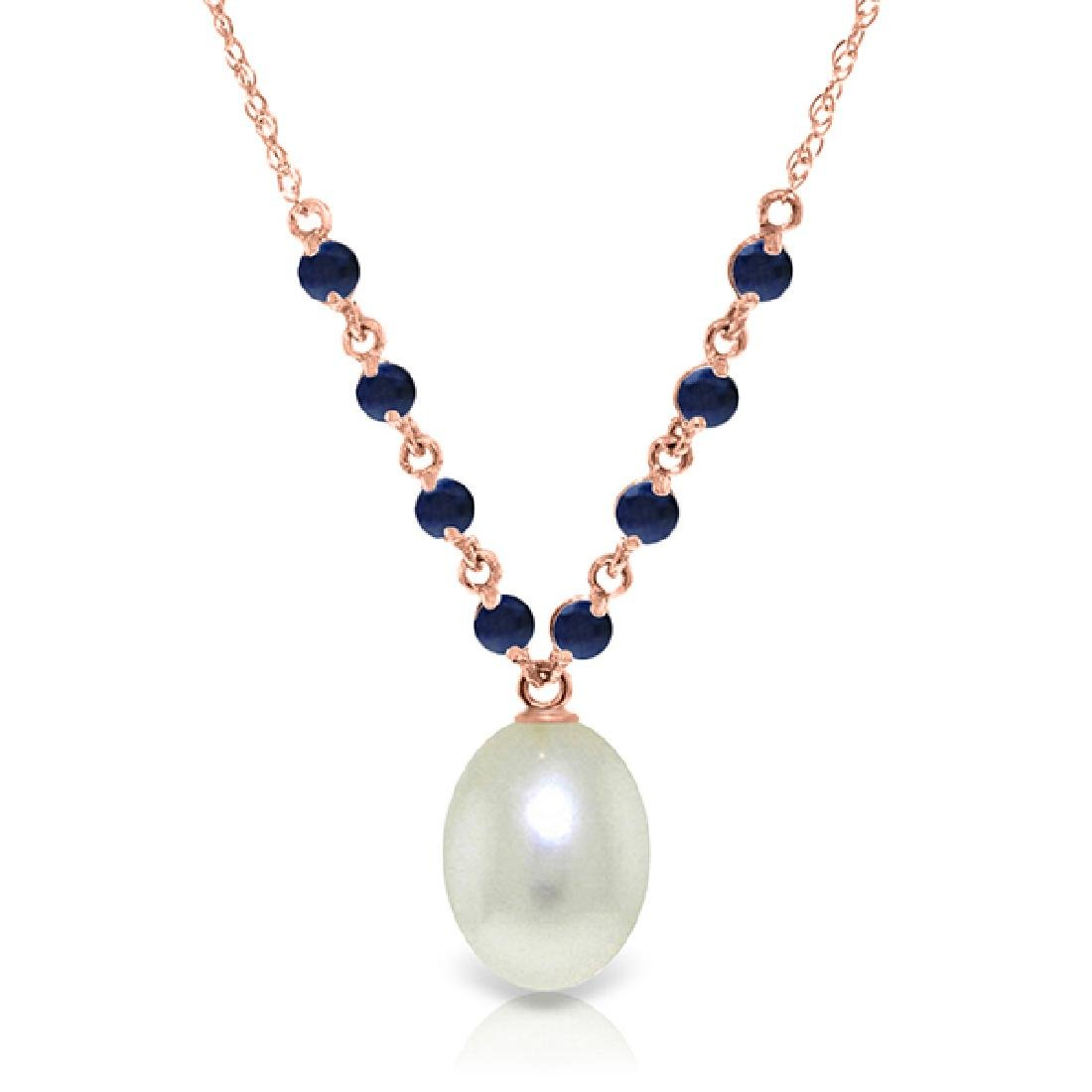 Genuine 5 ctw Pearl & Sapphire Necklace Jewelry 14KT