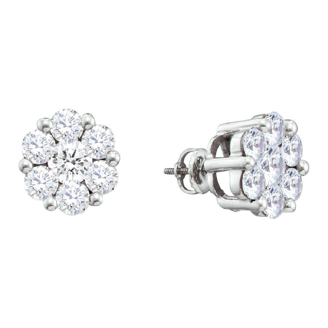 0.5 CTW Natural Diamond Flower Cluster Stud Earrings