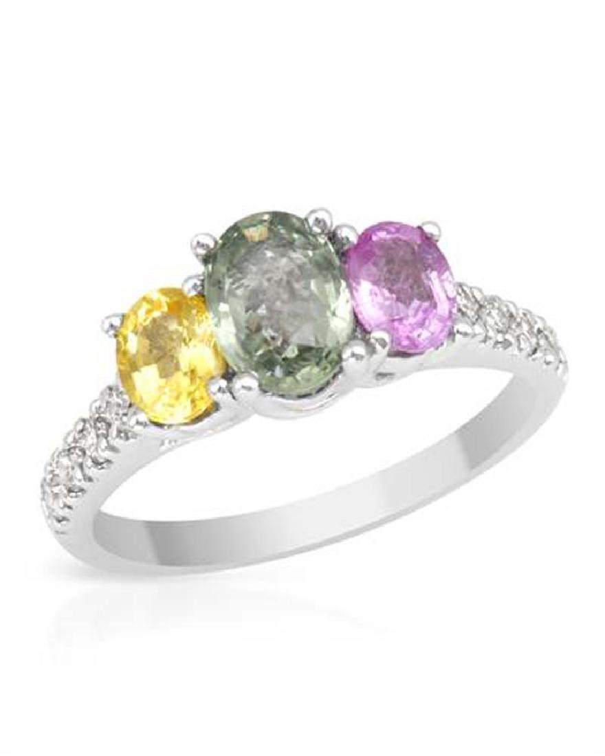 2.16 CTW Sapphire Fashion  Ring in 14K White Gold