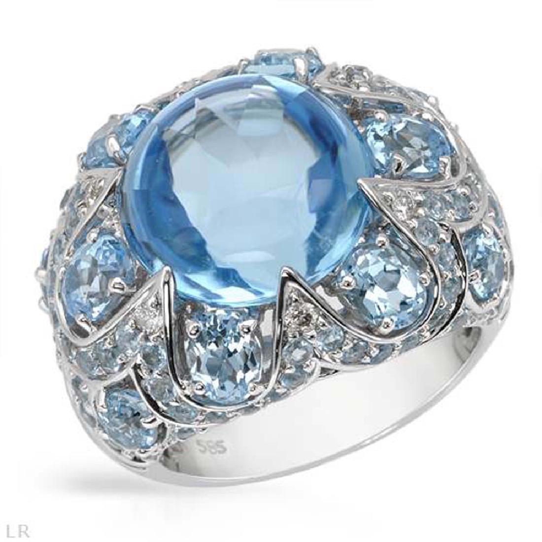 17.97 CTW Topaz Fashion  Ring in 14K White Gold