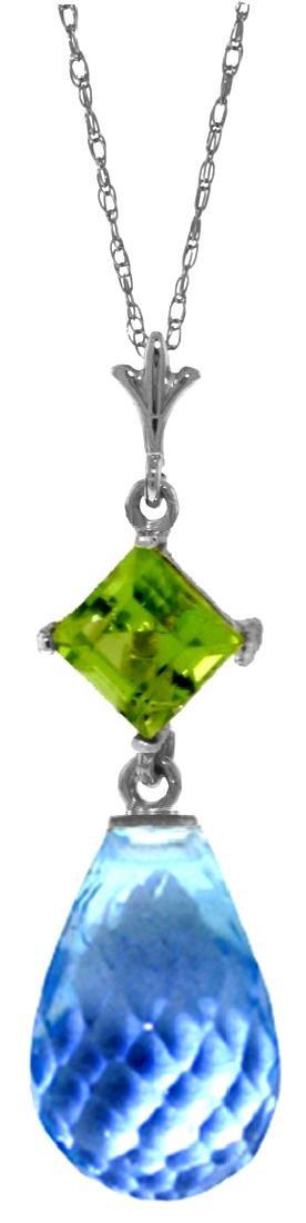 Genuine 5.5 ctw Blue Topaz & Peridot Necklace Jewelry