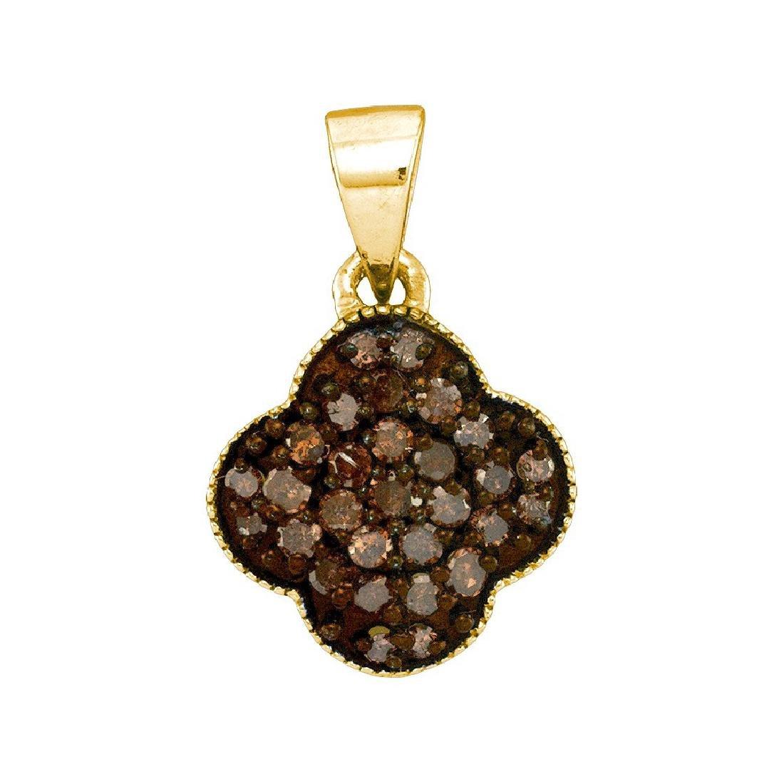 0.25 CTW Cognac-brown Colored Diamond Cluster Pendant