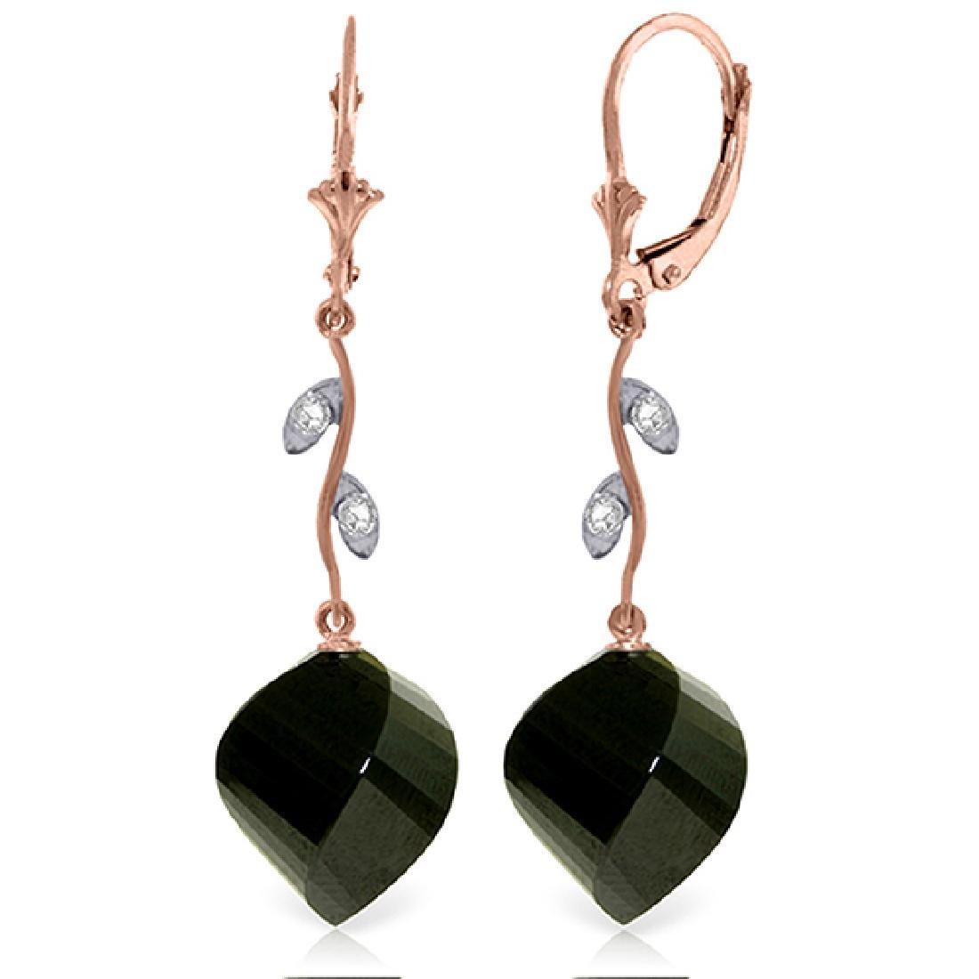 Genuine 31.02 ctw Black Spinel & Diamond Earrings