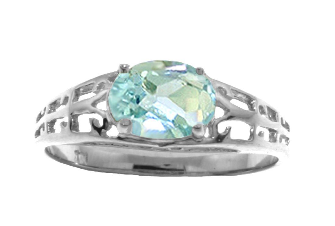 Genuine 1.15 ctw Aquamarine Ring Jewelry 14KT White