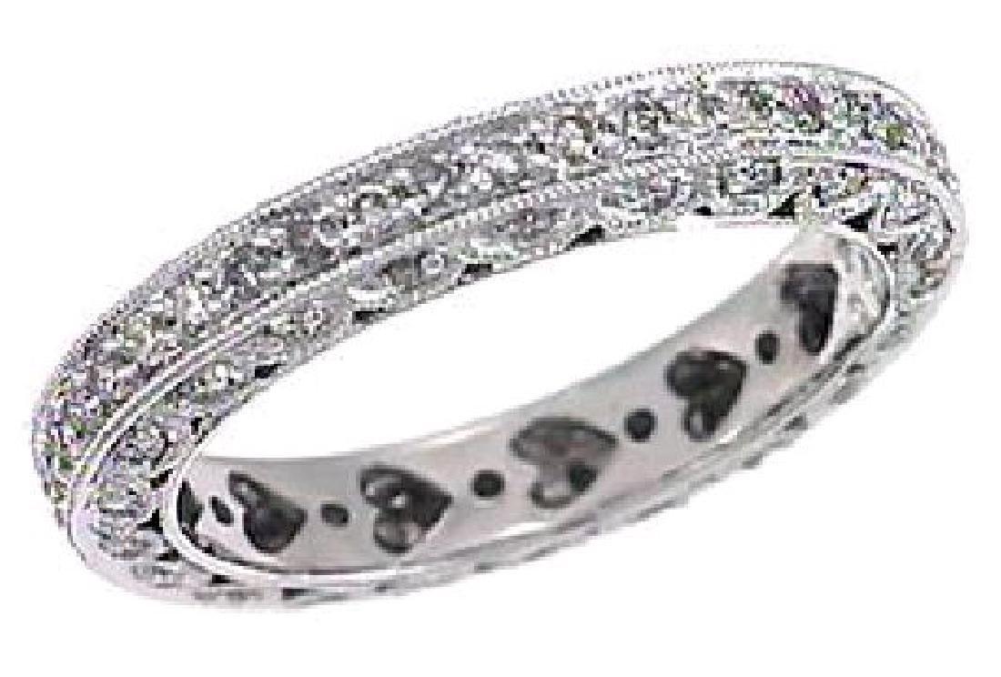 Genuine 0.87 CTW Diamond Wedding Band Ring in Platinum