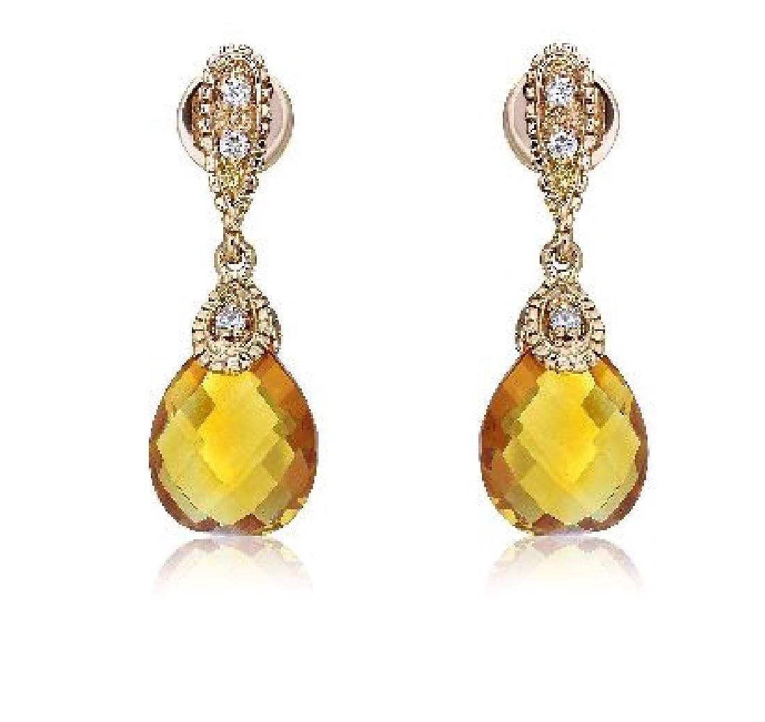 Genuine 5 CTW Citrine & Diamond Drop Earring in 14K