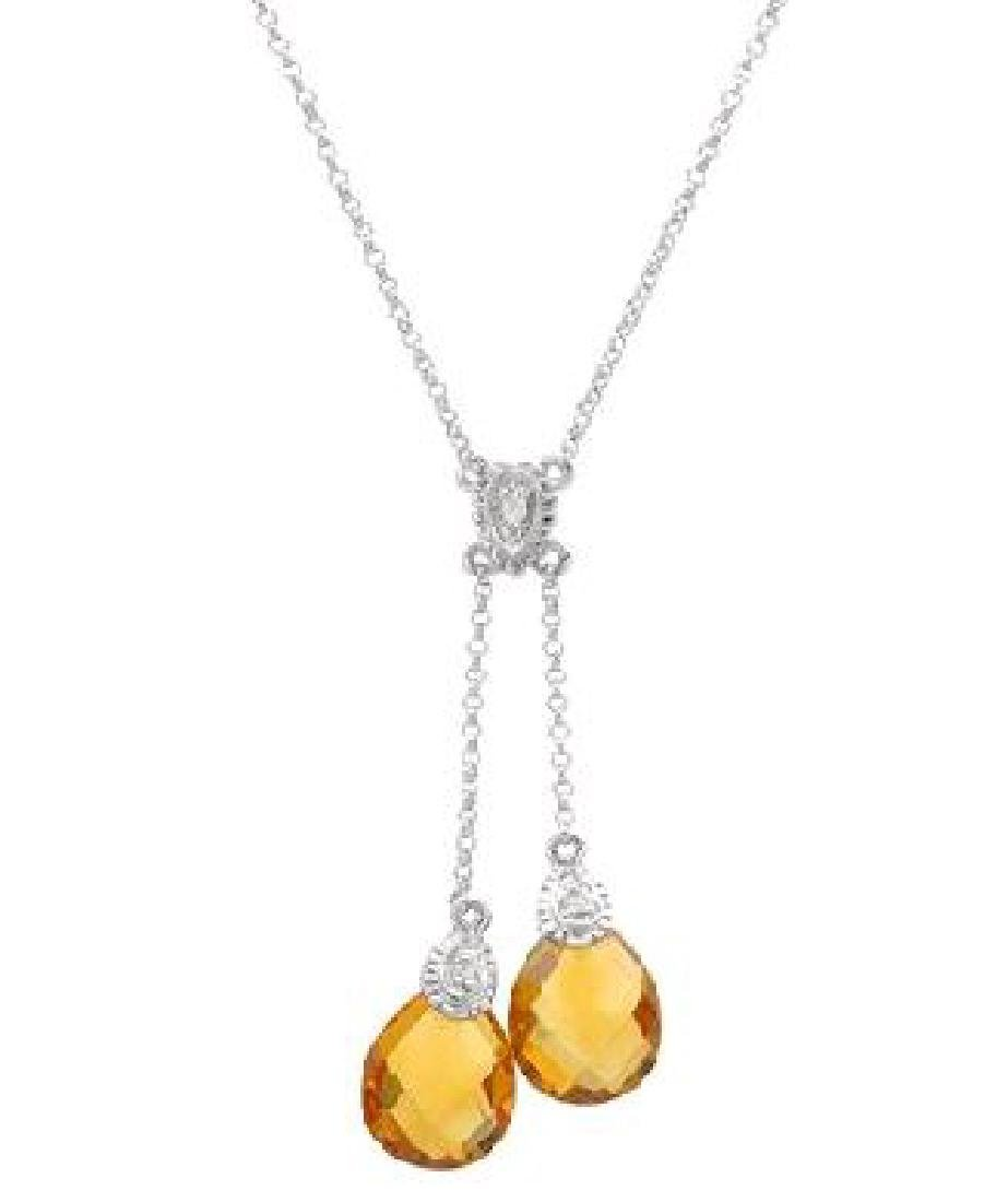 Genuine 4.77 CTW Citrine Lariat Necklace in 14K White