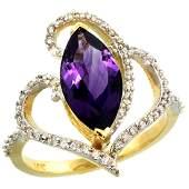 Natural 3.33 ctw Amethyst & Diamond Engagement Ring 14K