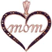 0.07 CTW Red Color Diamond Mom Heart Love Mother's Day
