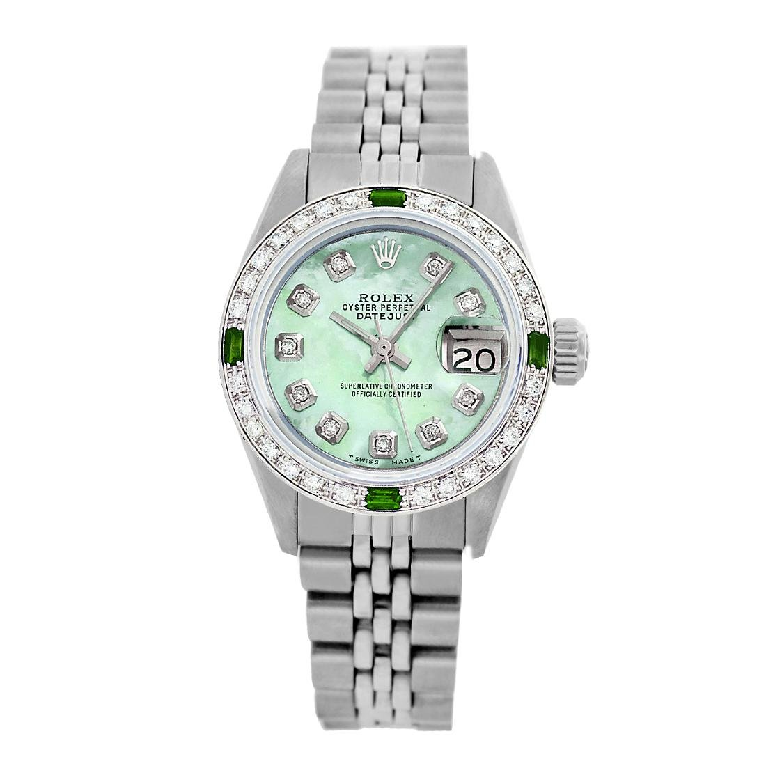 Rolex Pre-owned 26mm Womens Custom Green MOP Stainless