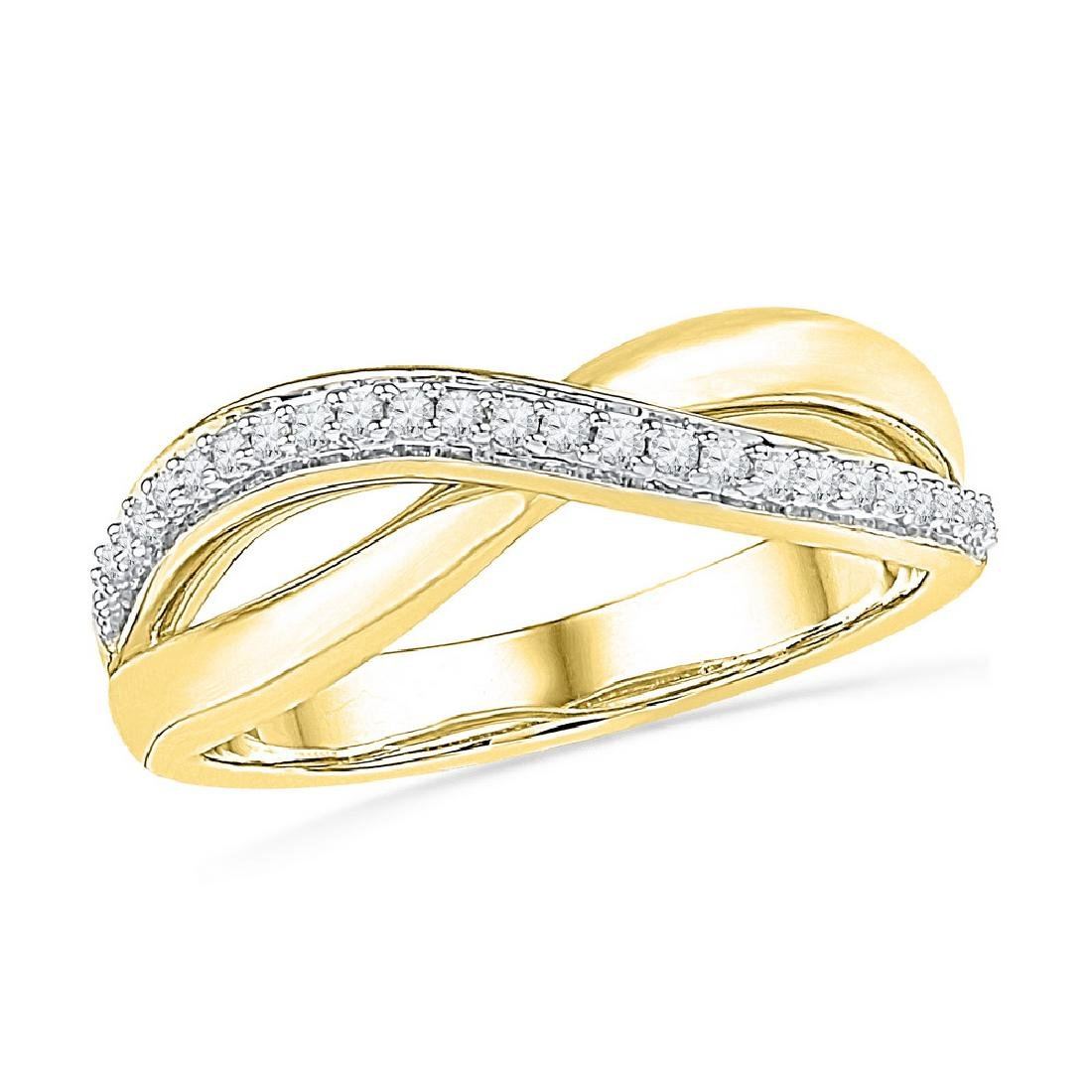 0.10 CTW Diamond Crossover Ring 10KT Yellow Gold -