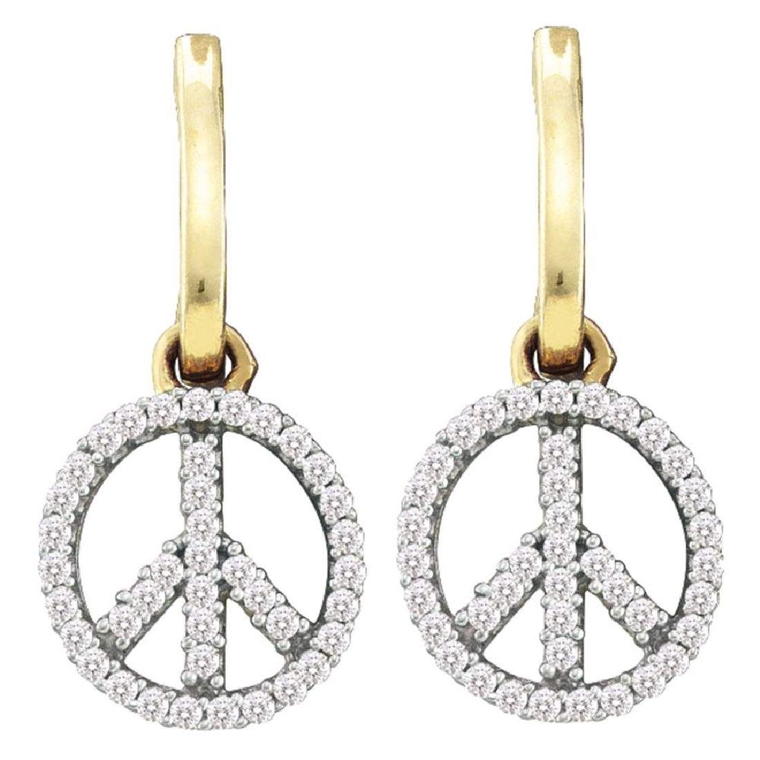 0.25 CTW Diamond Small Peace Sign Dangle Earrings 10KT