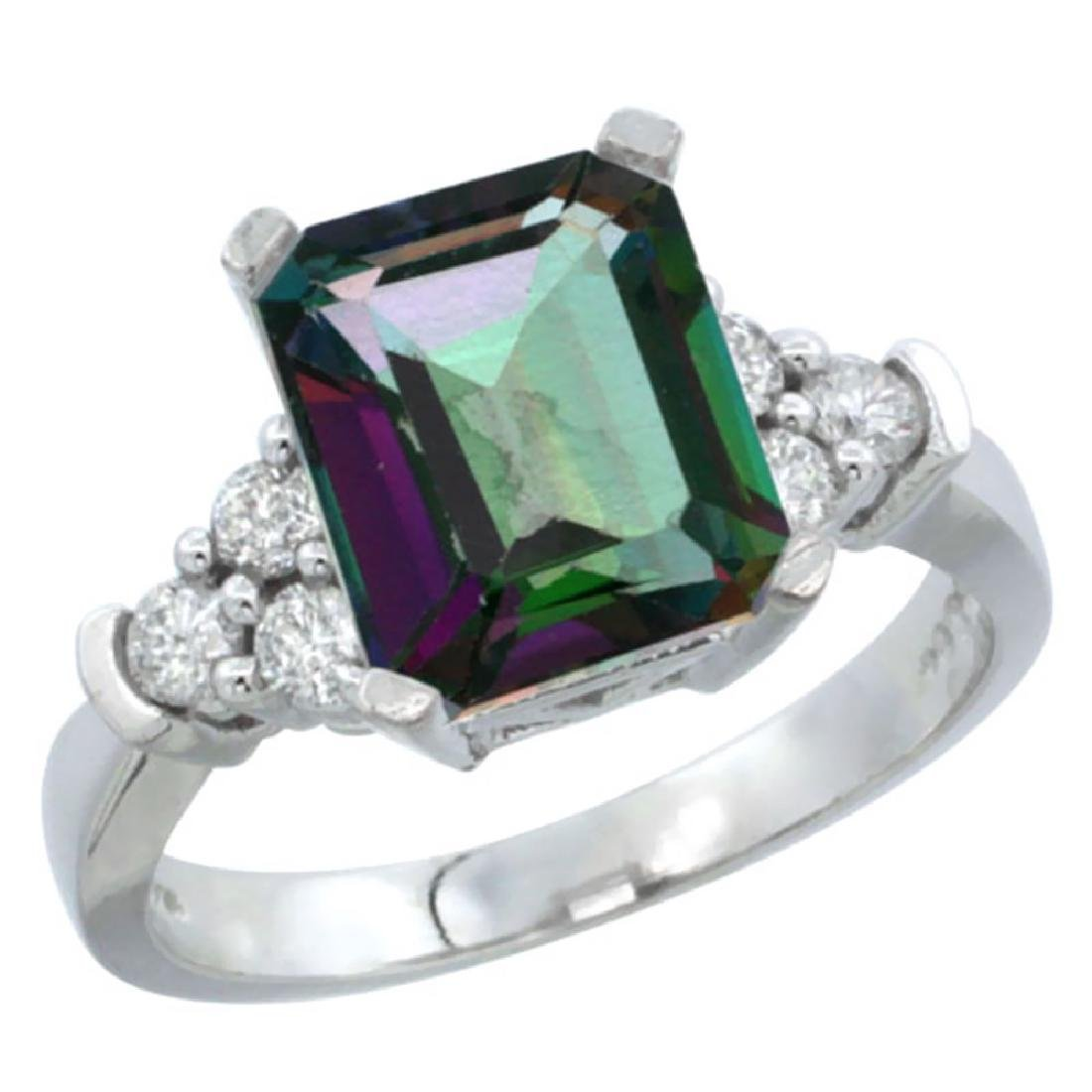 Natural 2.86 ctw mystic-topaz & Diamond Engagement Ring