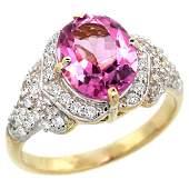 Natural 2.92 ctw pink-topaz & Diamond Engagement Ring