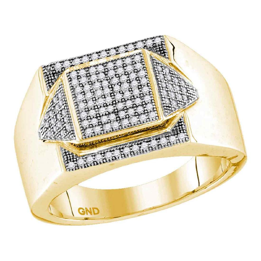 0.35 CTW Mens Diamond Square Cluster Ring 10KT Yellow