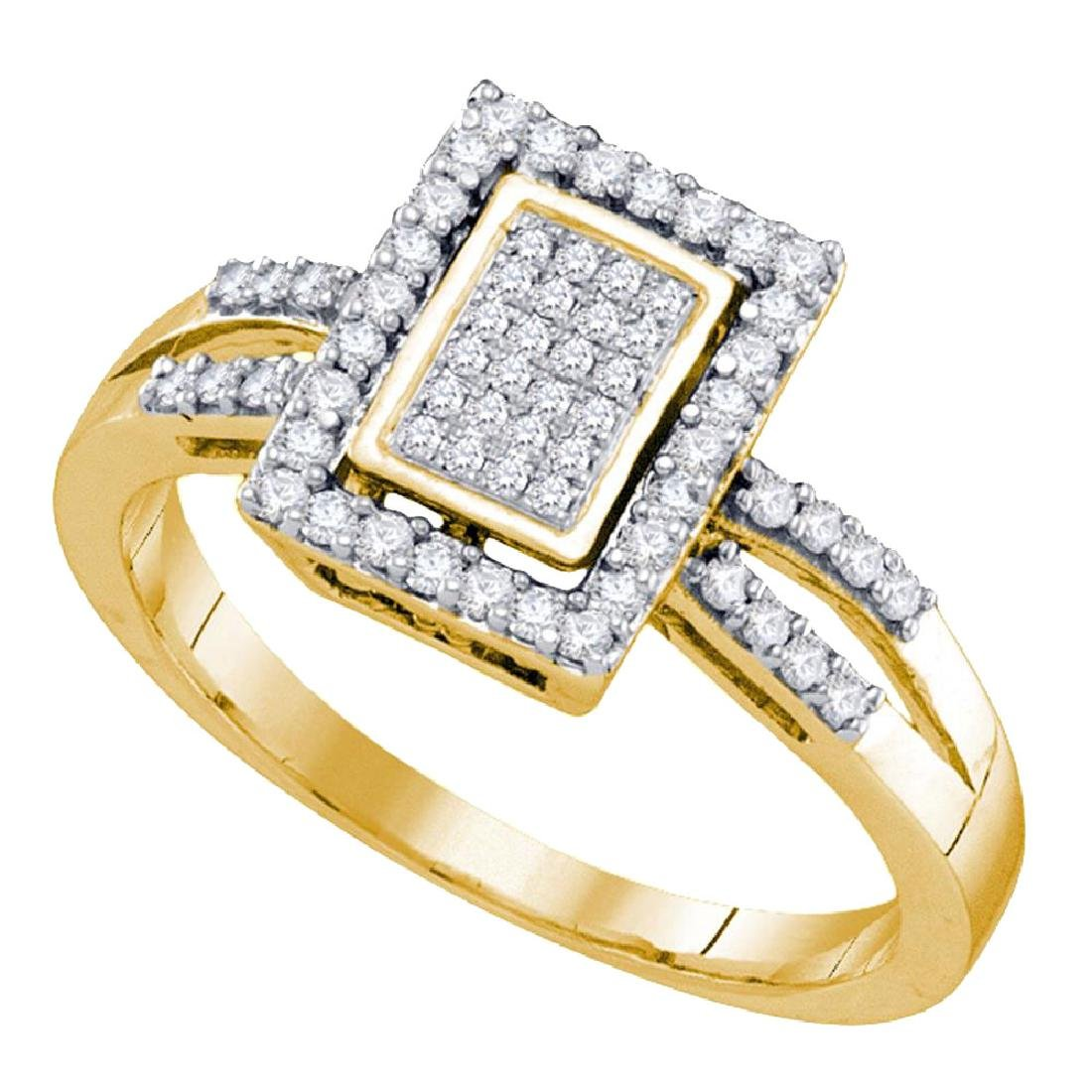 0.30 CTW Diamond Rectangle Cluster Ring 10KT Yellow