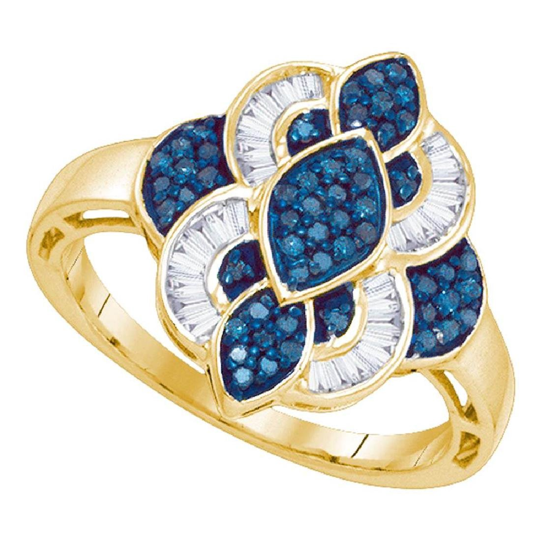 0.45 CTW Blue Color Diamond Wide Fashion Ring 10KT