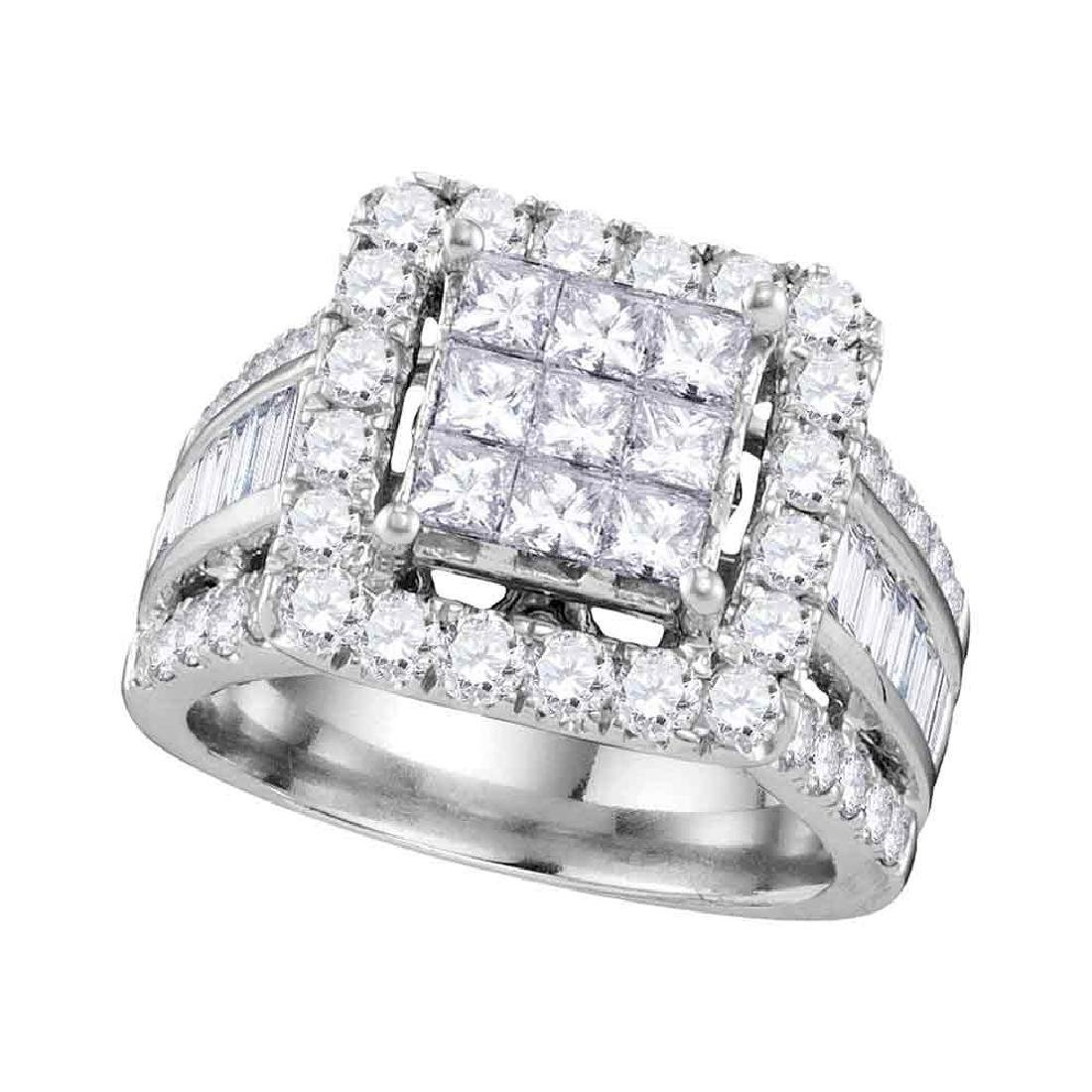 3 CTW Princess Diamond Cluster Bridal Engagement Ring