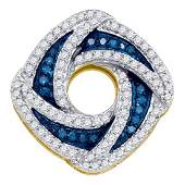 0.55 CTW Blue Color Diamond Square Pendant 10KT Yellow