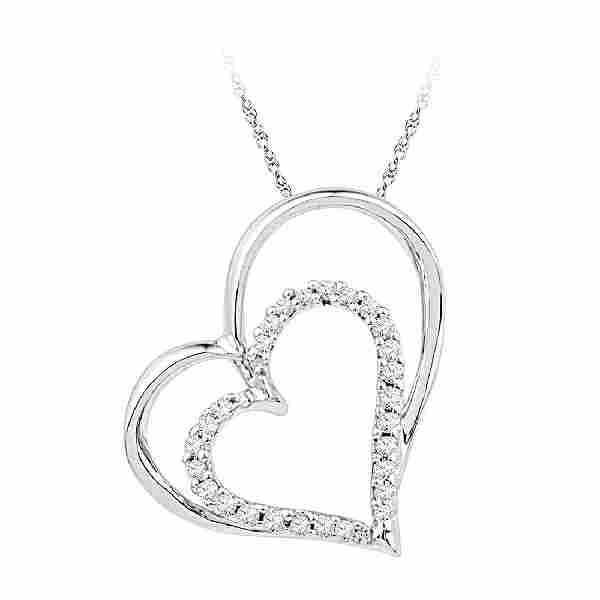 0.12 CTW Diamond Double Heart Outline Pendant 10KT