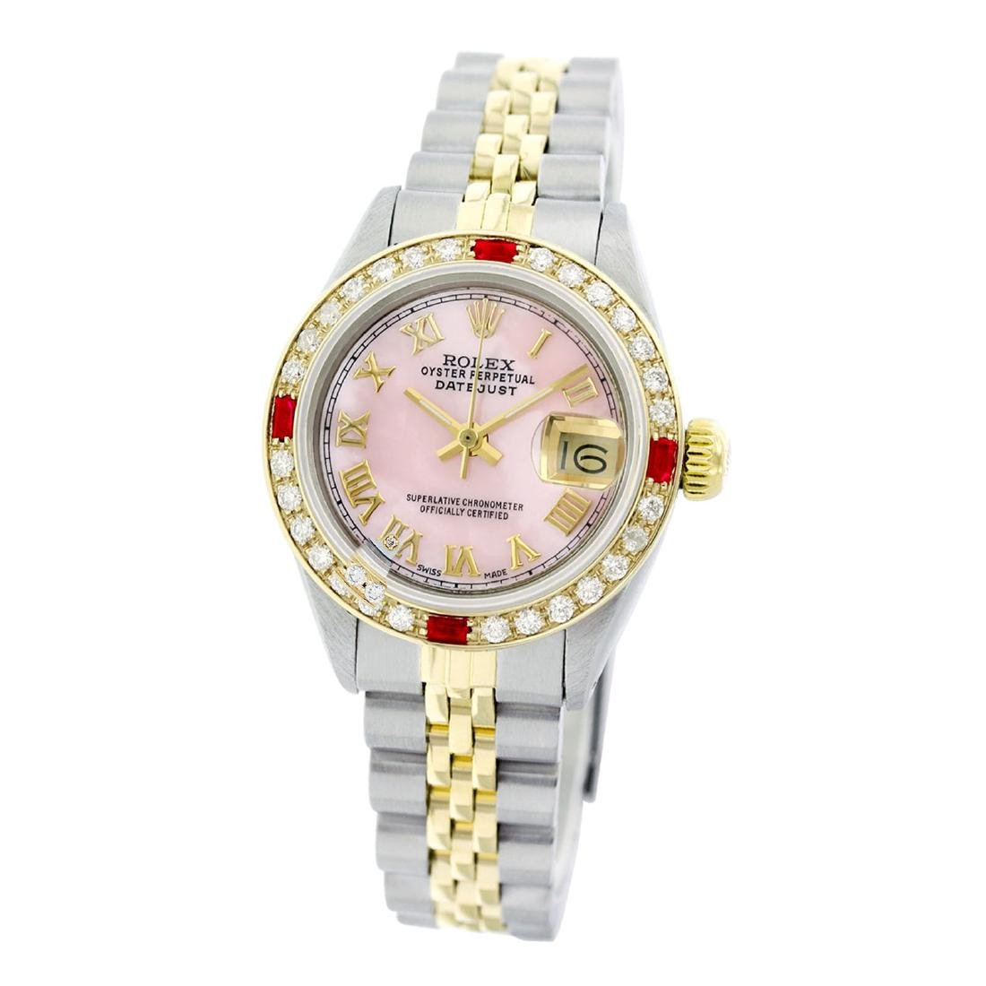 Rolex Pre-owned 26mm Womens Custom Pink Mother of Pearl