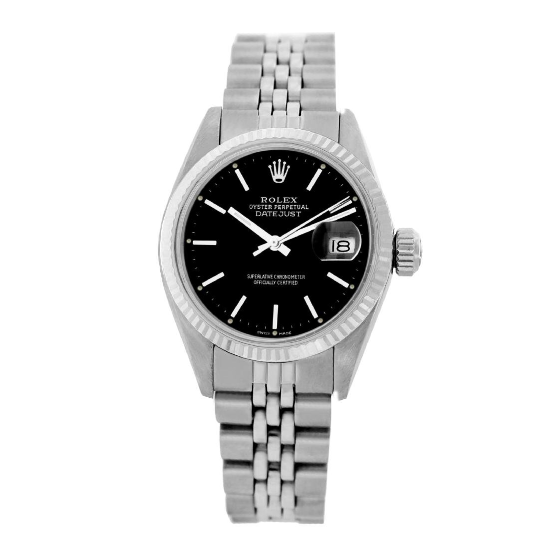 Rolex Pre-owned 26mm Womens Custom Black Dial Stainless