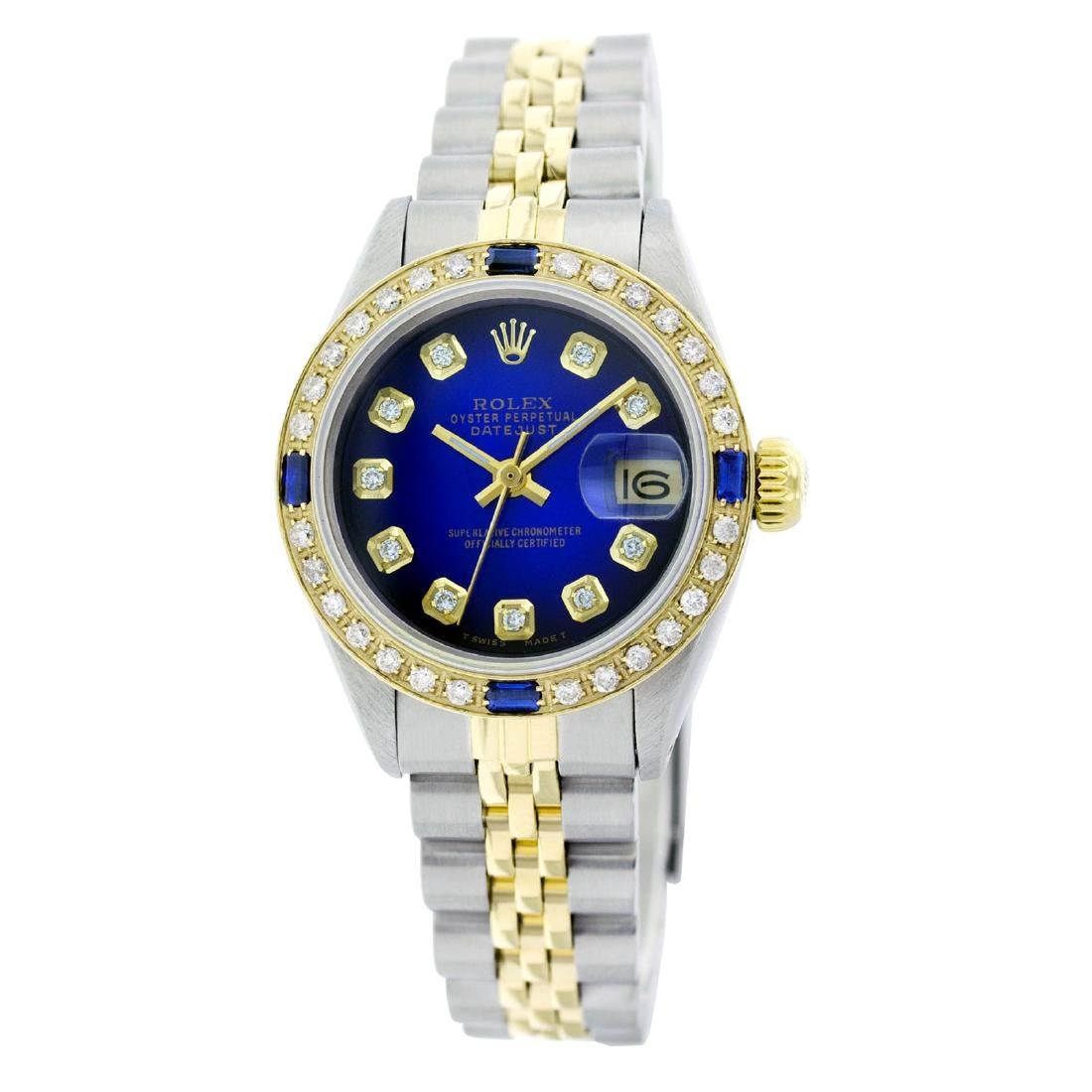 Rolex Pre-owned 26mm Womens Custom Blue Vignette Two