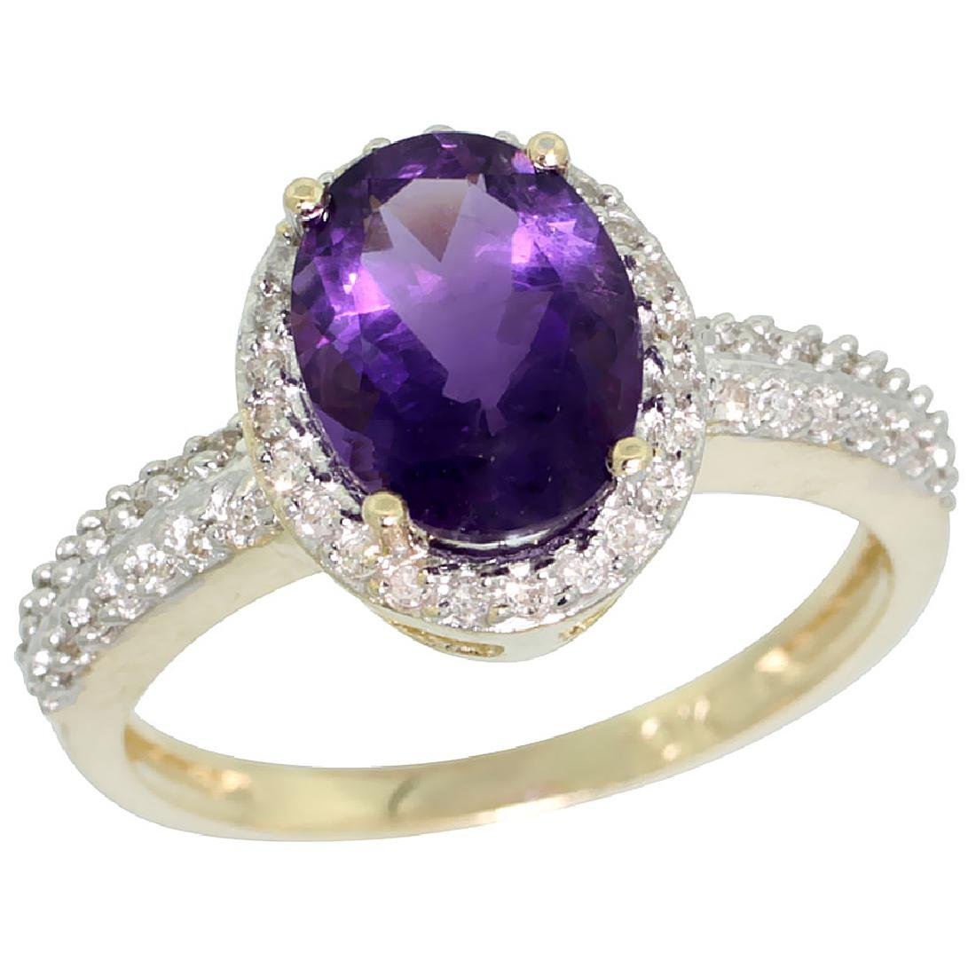 Natural 1.91 ctw Amethyst & Diamond Engagement Ring 14K