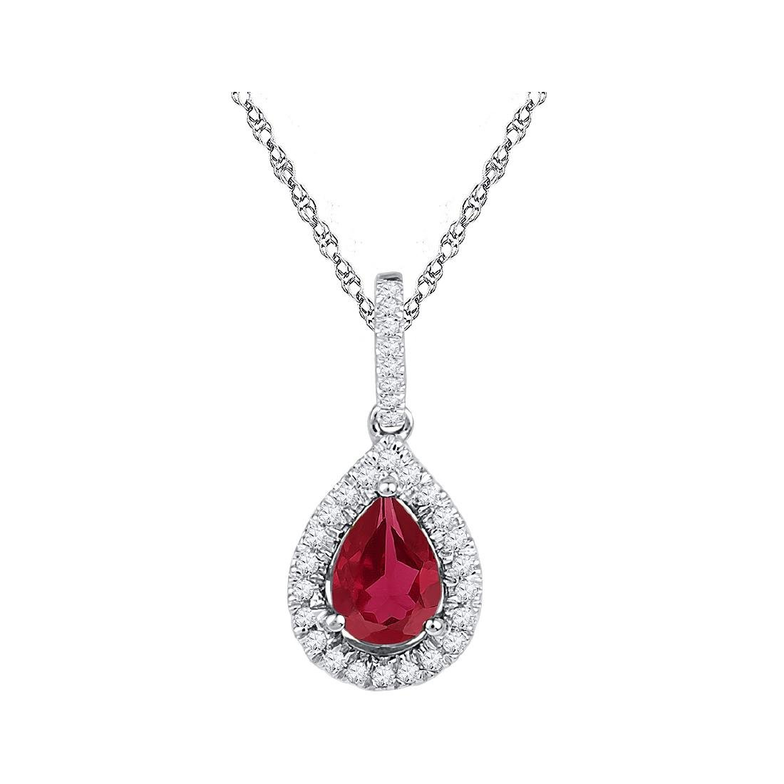 1.87 CTW Pear Created Ruby Solitaire Diamond Pendant