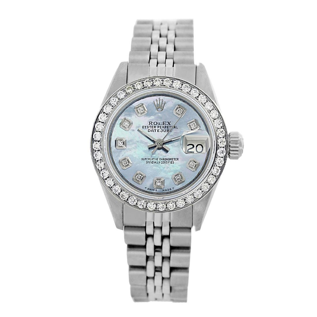 Rolex Pre-owned 26mm Womens Custom Blue MOP Stainless