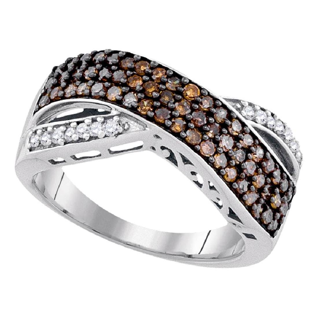 0.70 CTWCognac-brown Color Diamond Crossover Ring 10KT