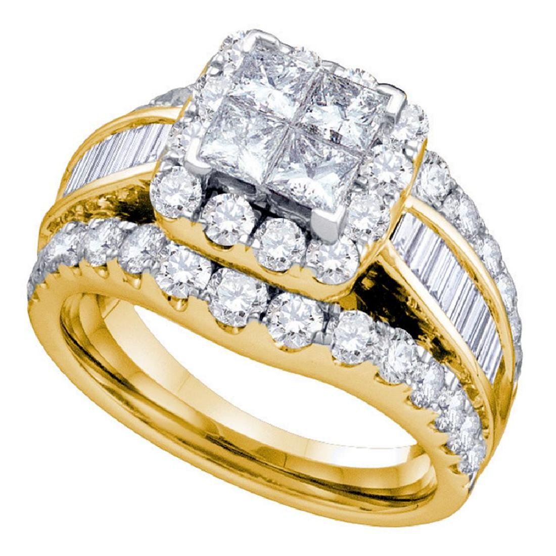 2 CTW Princess Diamond Cluster Bridal Engagement Ring