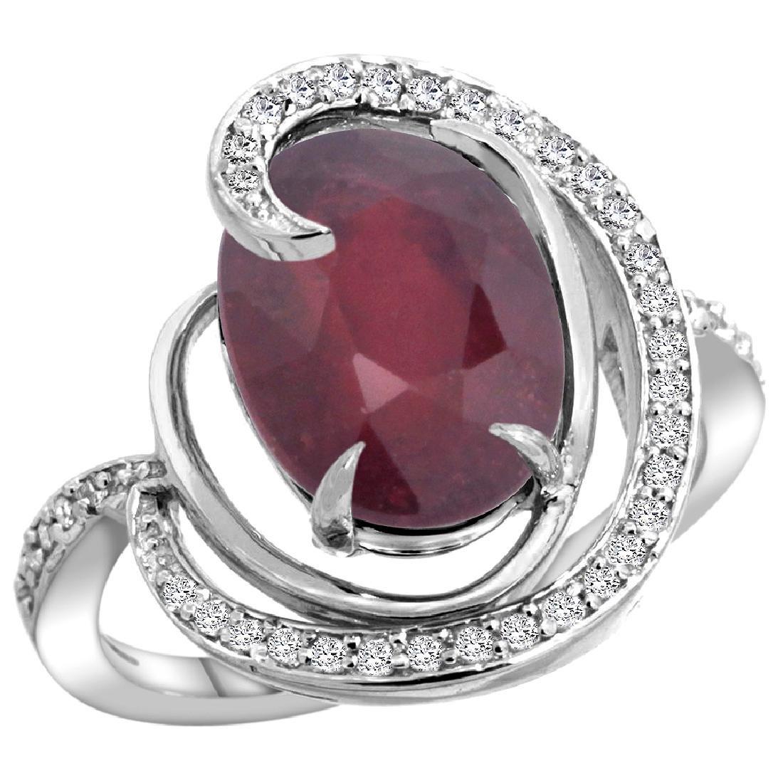 Natural 5.73 ctw ruby & Diamond Engagement Ring 14K