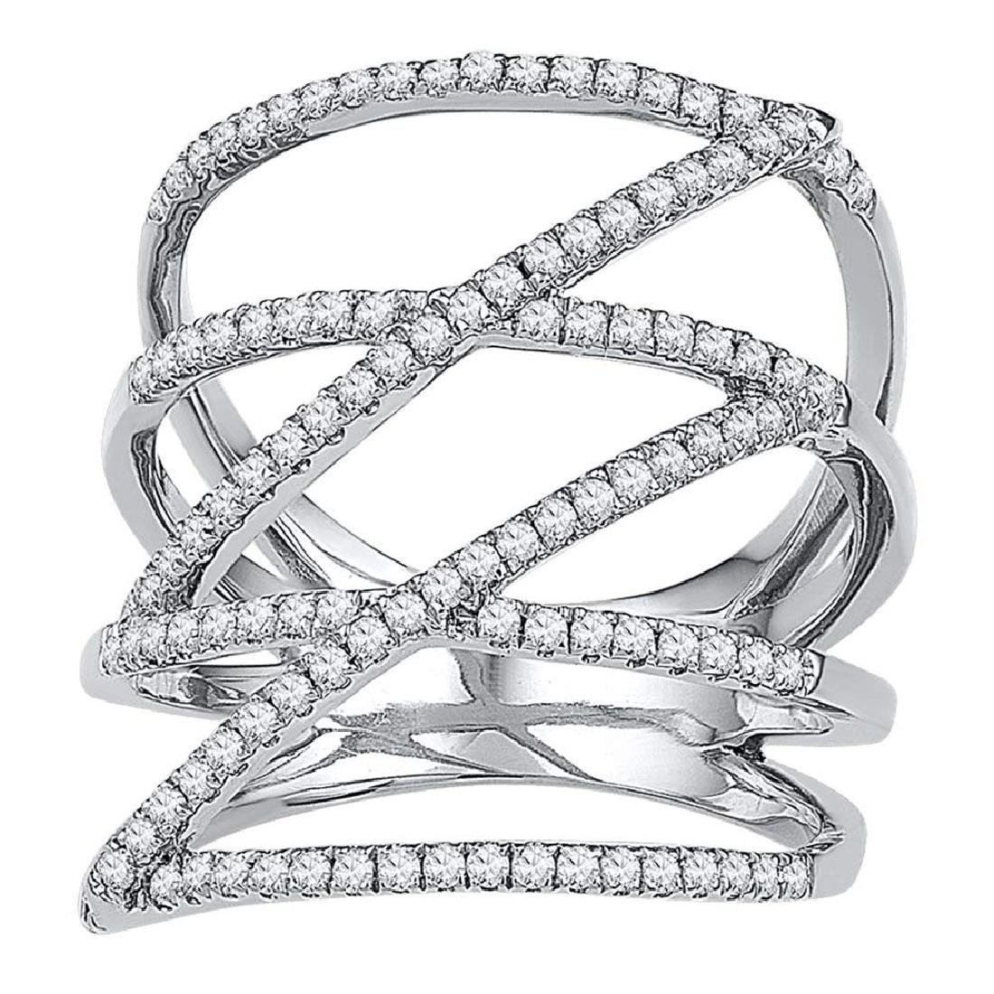 0.50 CTWDiamond Crossover Strand Fashion Ring 10KT