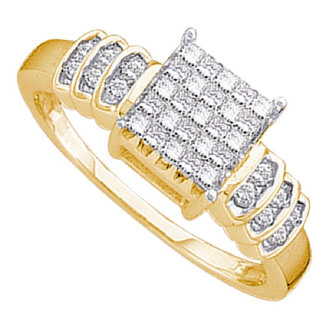0.33 CTW Princess Diamond Cluster Bridal Engagement