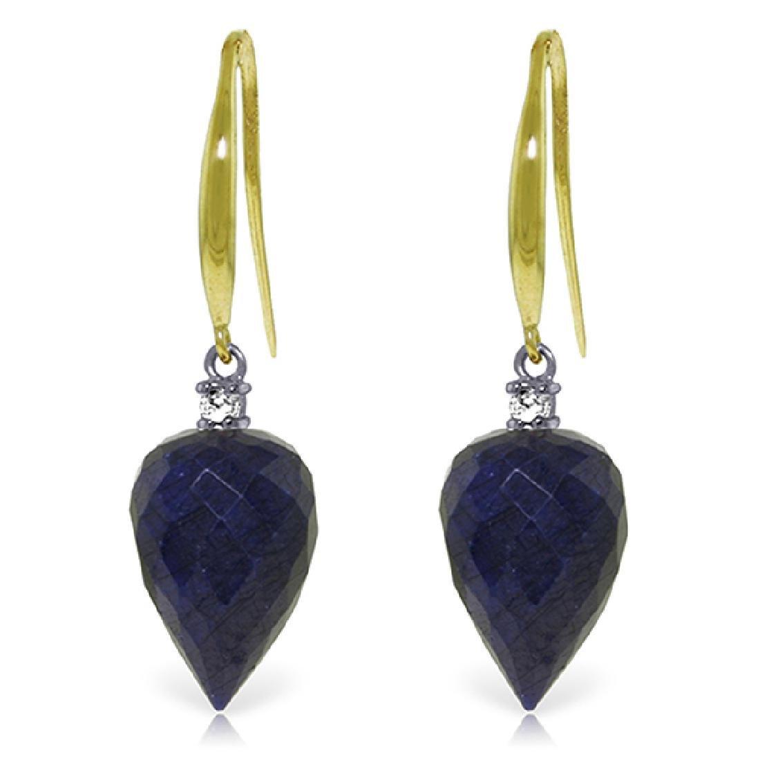 Genuine 25.9 ctw Sapphire & Diamond Earrings Jewelry