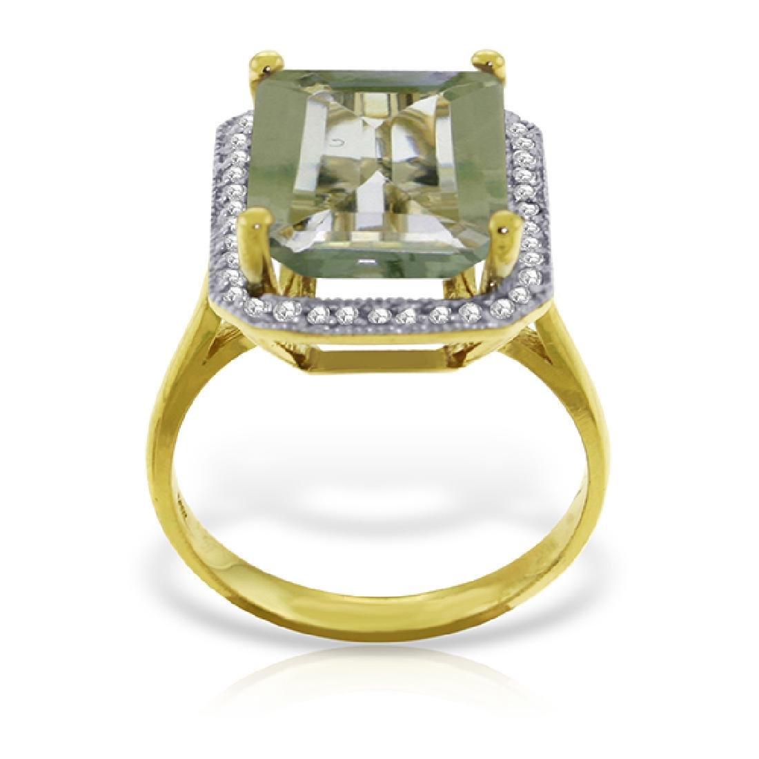 Genuine 5.8 ctw Green Amethyst & Diamond Ring Jewelry