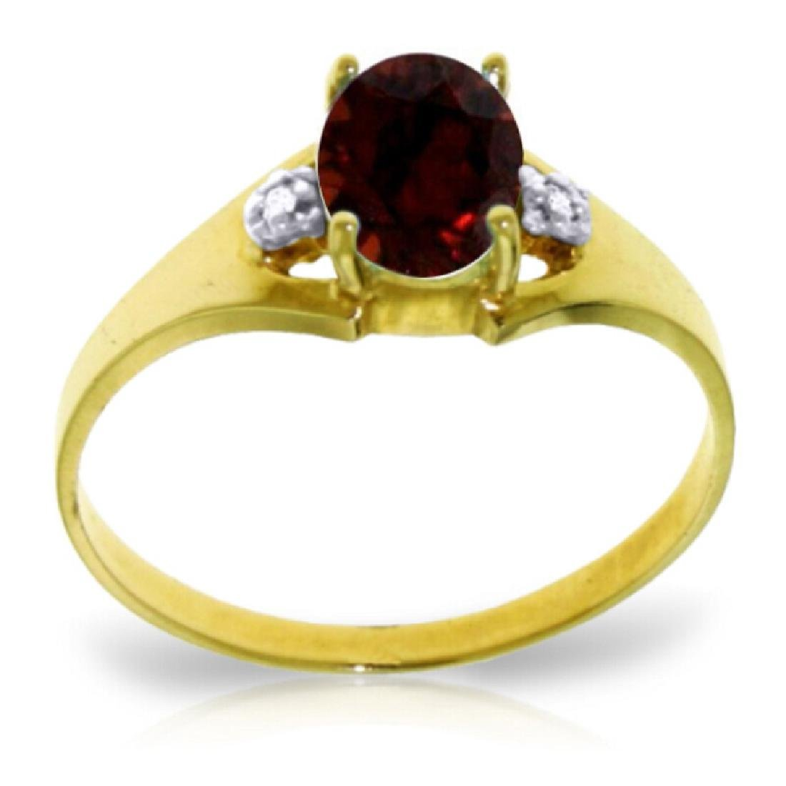 Genuine 0.76 ctw Garnet & Diamond Ring Jewelry 14KT