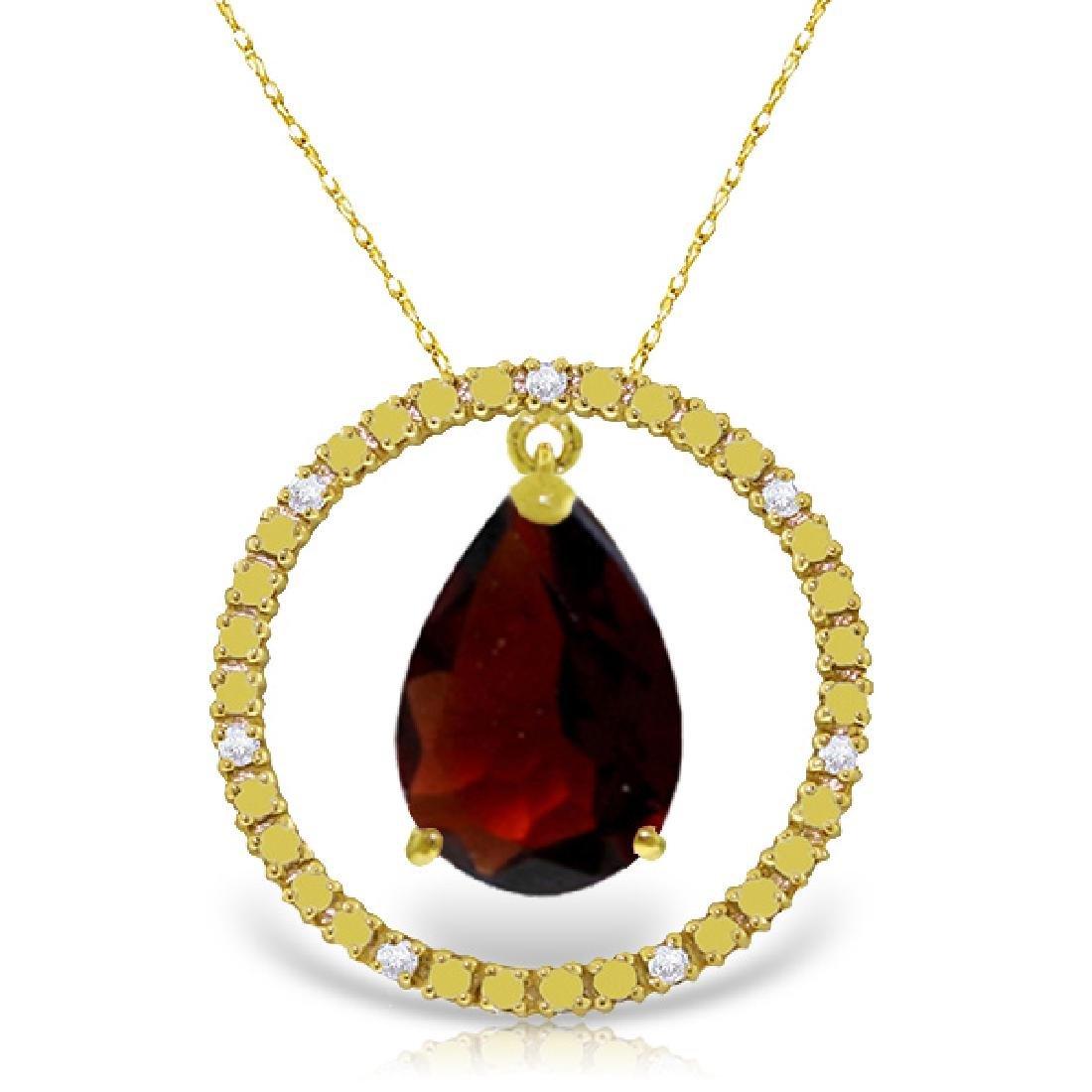 Genuine 6.6 ctw Garnet & Diamond Necklace Jewelry 14KT