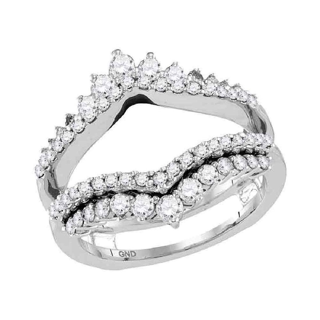 0.97 CTW Diamond Wrap Ring 14KT White Gold - REF-109X4Y