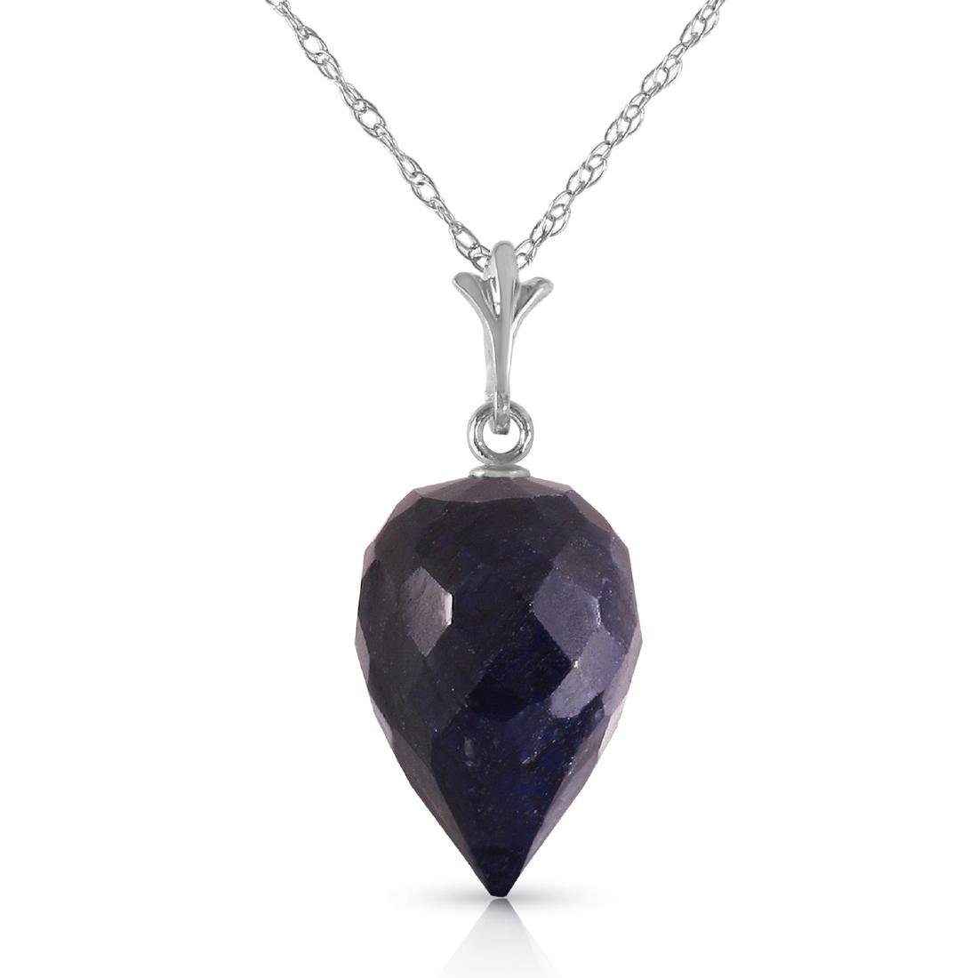 Genuine 12.9 ctw Sapphire Necklace Jewelry 14KT White