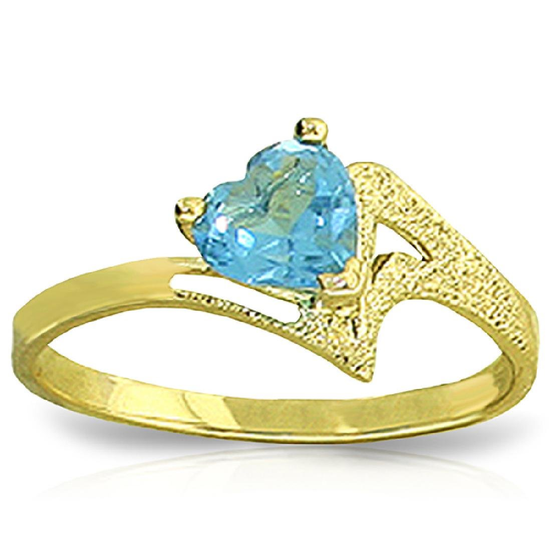 Genuine 0.95 ctw Blue Topaz Ring Jewelry 14KT Yellow