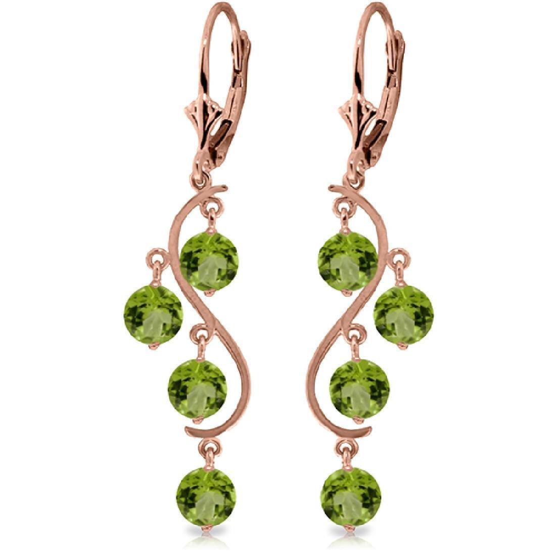 Genuine 4.95 ctw Peridot Earrings Jewelry 14KT Rose