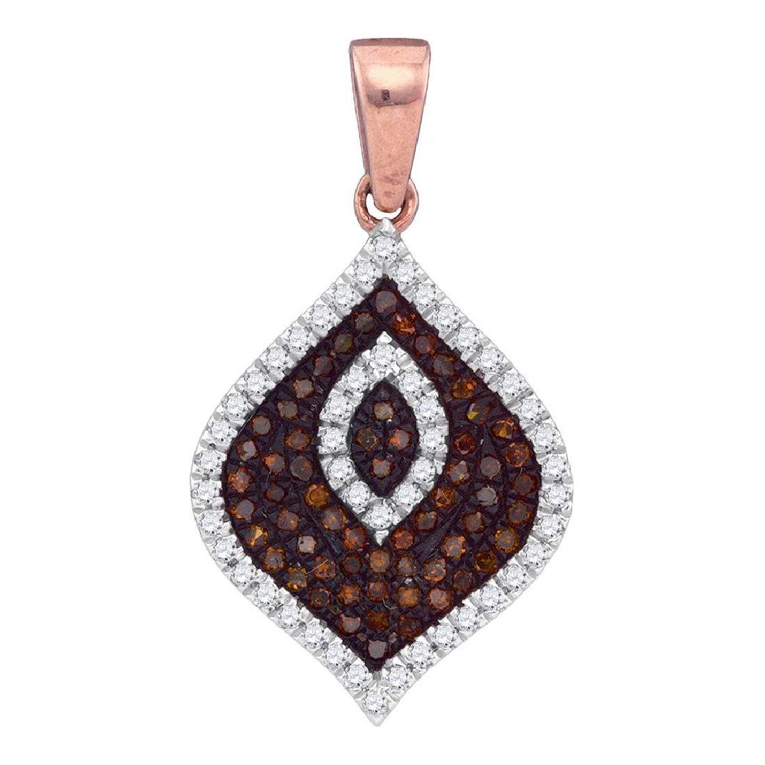 0.36 CTW Red Color Diamond Fashion Pendant 10KT Rose