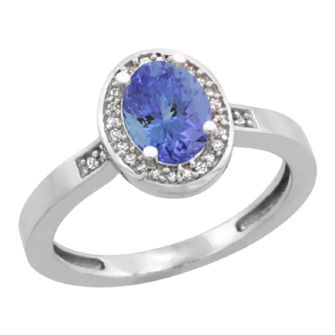 Natural 0.85 ctw Tanzanite & Diamond Engagement Ring