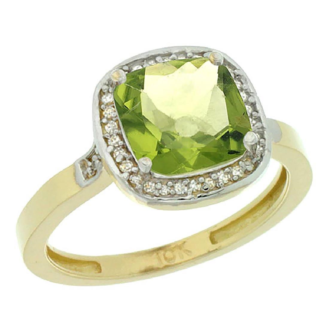 Natural 3.94 ctw Peridot & Diamond Engagement Ring 14K