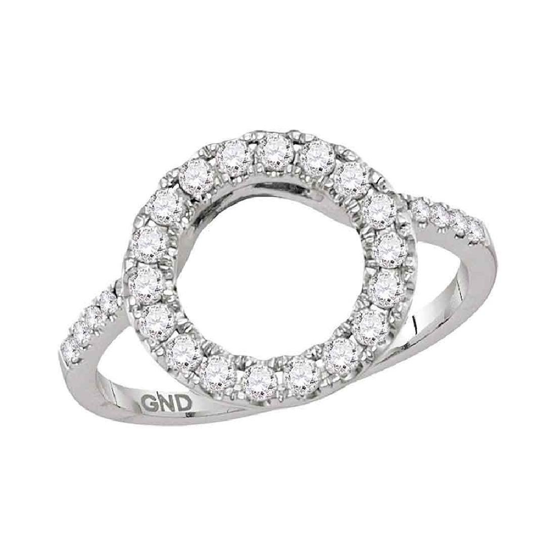 0.50 CTWDiamond Circle Halo Wrap Ring 14KT White Gold -
