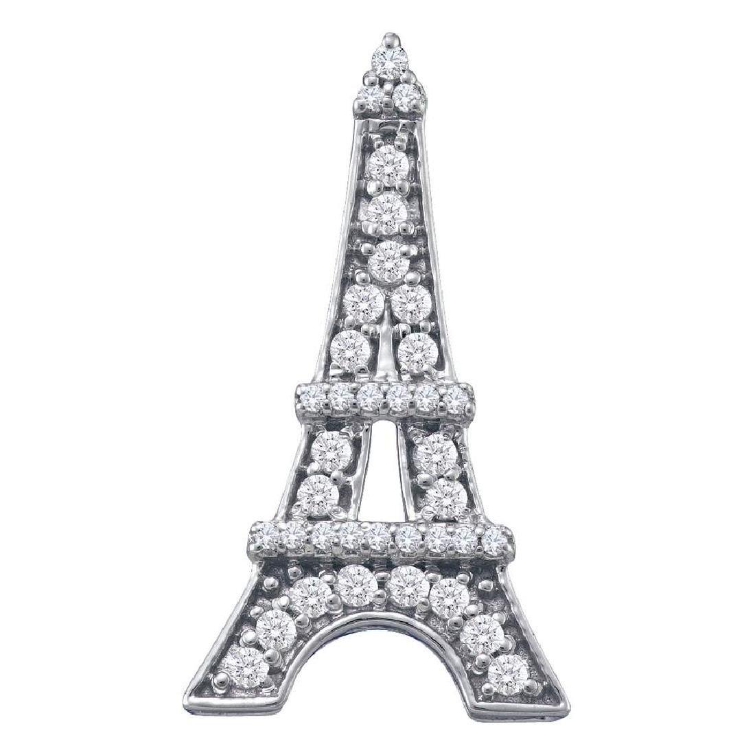 0.32 CTW Diamond Eiffel Tower Fashion Pendant 10KT