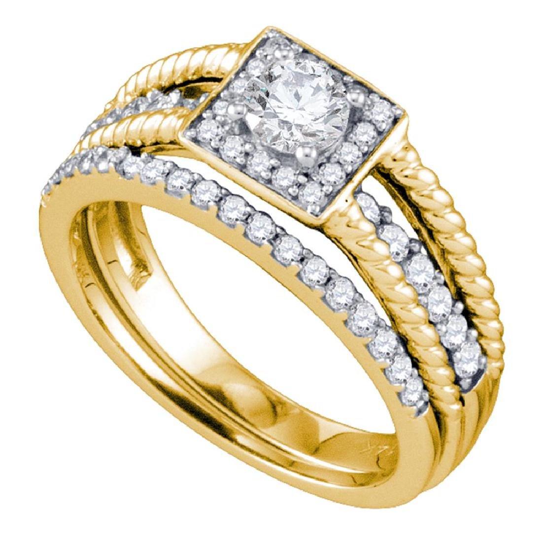 0.95 CTW Diamond Halo Bridal Engagement Ring 14KT