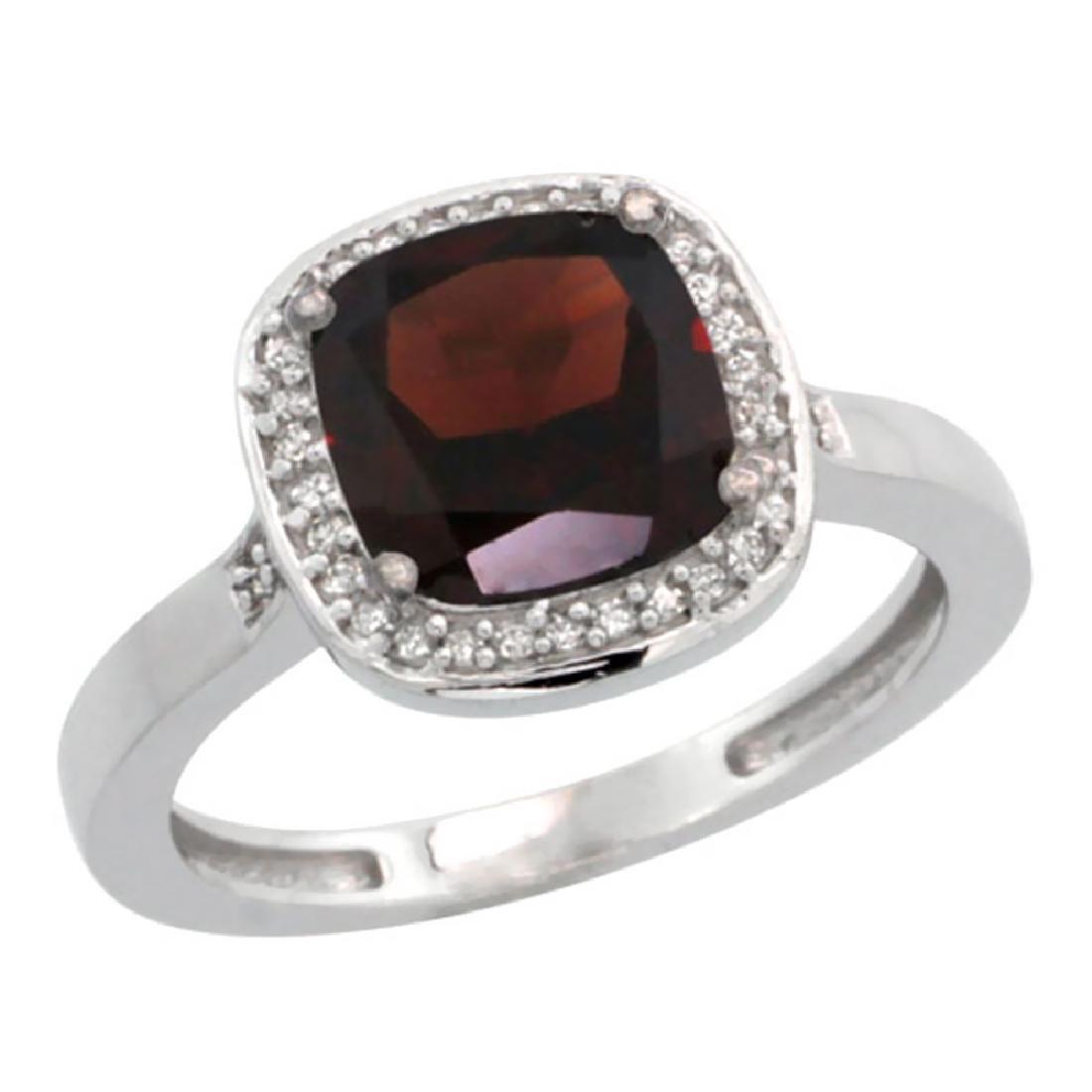 Natural 3.94 ctw Garnet & Diamond Engagement Ring 10K